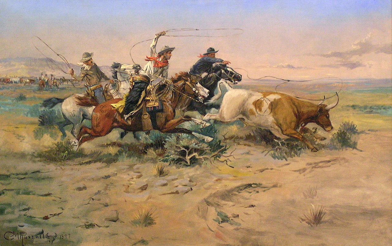 C.M. Russell's painting of American cowboys.