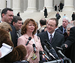 Susette Kelo, left, and IJ Senior Attorney Scott Bullock outside the U.S. Supreme Court. Photo courtesy of The Institute for Justice.