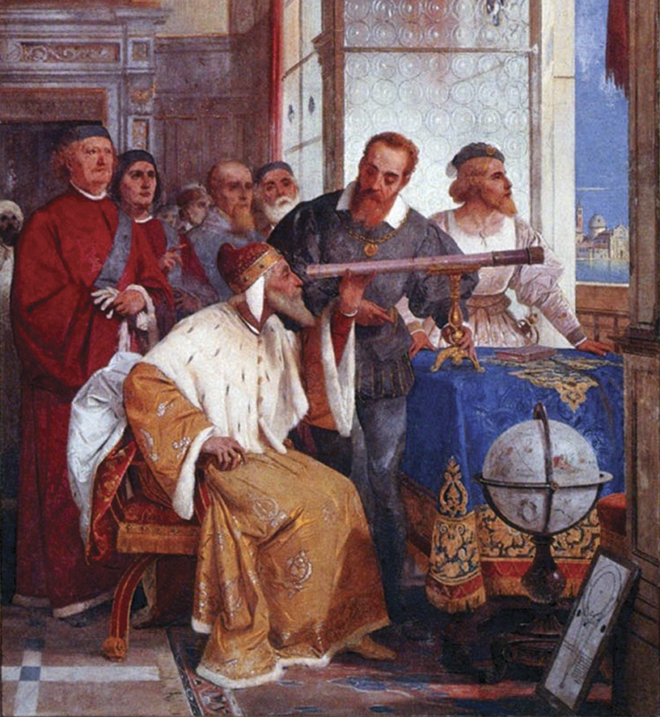 Galileo showing his telescope to the Doge of Venice, painting by Giuseppe Bertini.
