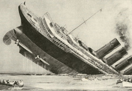 Artist interpretation of the sinking of the Lusitania