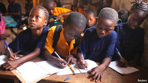 Children at parent-funded private school in Africa