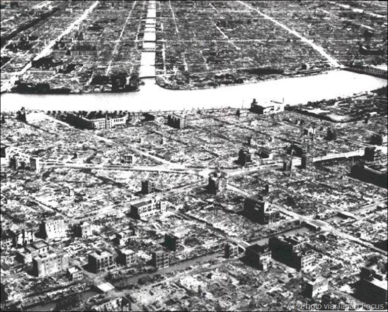 Central Tokyo after firebombing in World War II